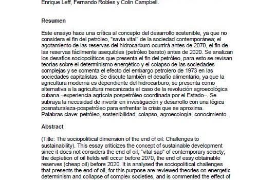 PÁEZ, ARMANDO (2002): La dimensión sociopolítica del fin del petróleo: Desafíos a la sostenibilidad