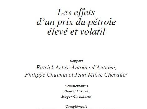 Artus, Patrick; d'Autume, Antoine; Chalmin, Philippe; Chevalier, Jean-Marie (2010): Les effets d'un prix du pétrole élevé et volatil